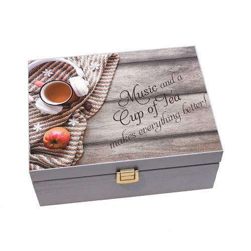 Cutii din lemn pentru depozitare plicuri ceai